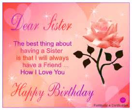 Animated birthday sister card in pink