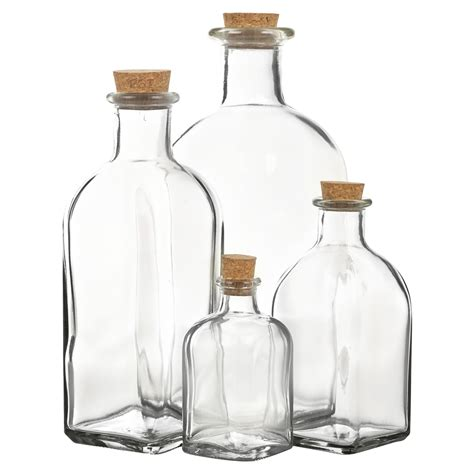 Glass Bottles 3 6 9 12 glass bottle jars vials cork lid stopper kitchen
