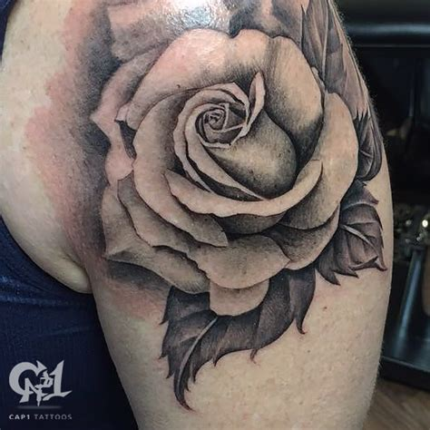 black and grey rose tattoo black and gray by capone tattoonow