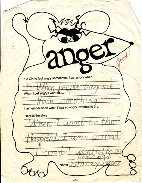 Anger Worksheets For anger worksheet from third grade neat neat neat