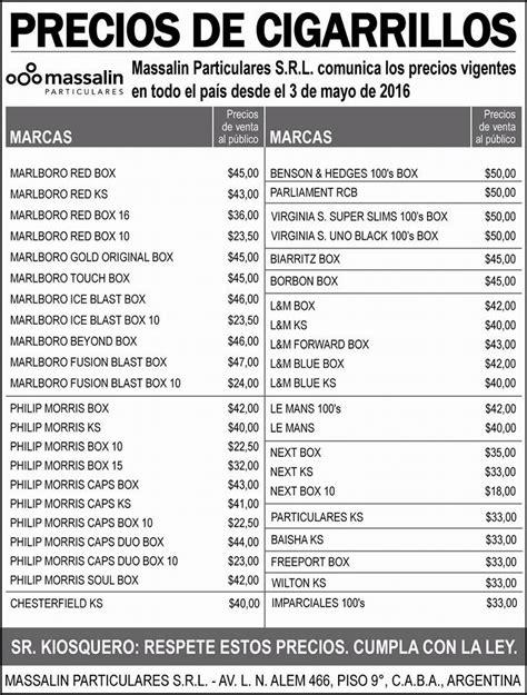 precio cigarros 2016 lista de precios de cigarrillos massalin particulares 3 de