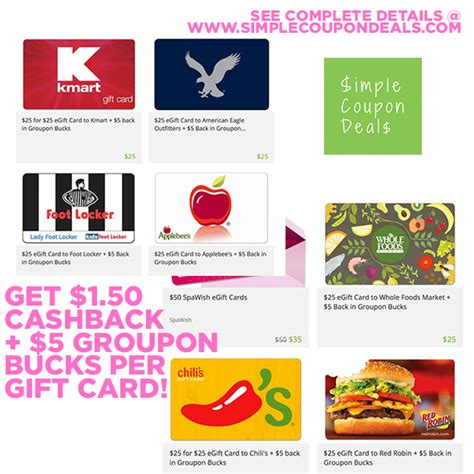 Use Groupon Gift Card - hot 25 gift card for 15 1 50 cashback and 5 groupon bucks simple coupon deals
