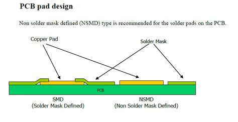pads layout via definition pcb eagle non solder mask defined nsmd pads