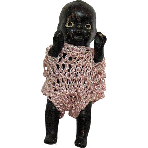 black doll 1950s vintage black americana black miniature ceramic doll 1950s