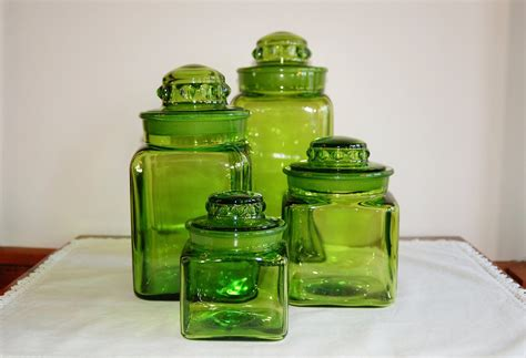 green kitchen canister set le smith 4 piece square green glass lidded canister set