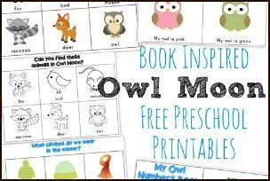printable owl moon owl moon inspired preschool printables hip homeschool moms
