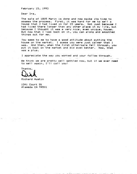 Offer Letters To Sellers Berkeley Home Buyer And Seller Testimonial Letters Ira