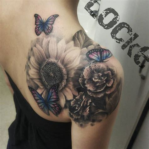 grey wash tattoo gray wash flowers and butterflies girlswithink sunflower