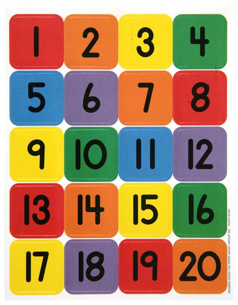 large printable number cards numbers 1 20 theme school stickers eureka school