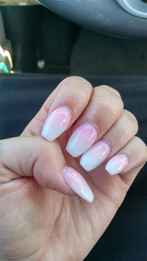 short coffin nails short coffin acrylic nails pink and white ombre nails