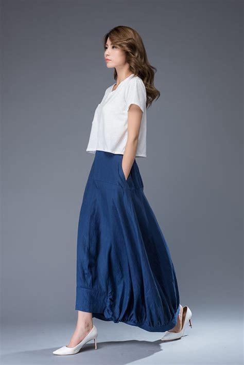 Maxi Moderen blue maxi linen skirt modern contemporary casual comfortable