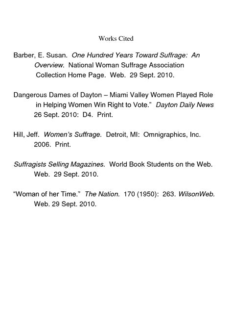 work cited page exles world of exles
