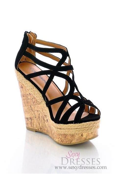 sandal wedges for stylish black strappy open toe wedge heel sandal toms