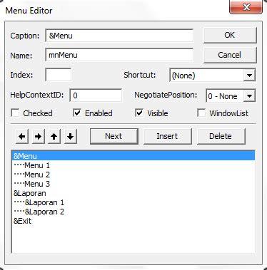 cara membuat query di vb 6 0 cara mudah membuat menu editor di visual basic 6 0