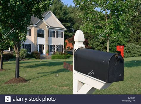 mailbox in front of a house clinton usa stock photo
