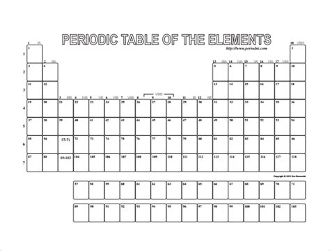 printable periodic table empty sle blank table template 7 free documents download