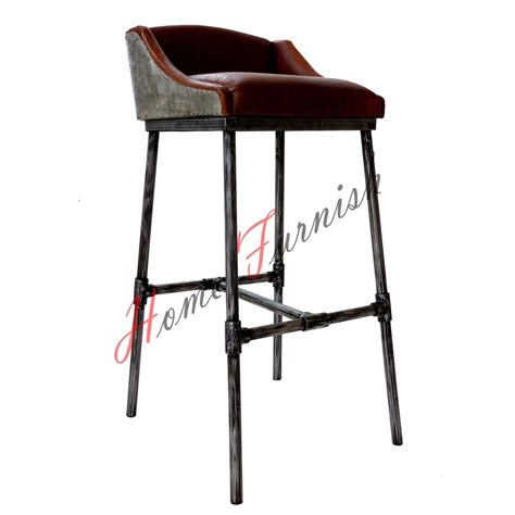 leather and iron bar stools iron scaffold leather stool ndustrial bar counter stool