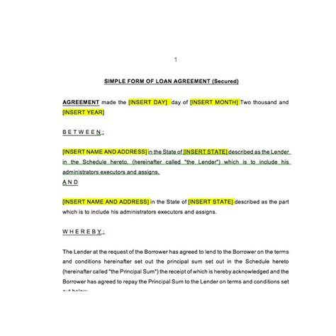 Secured Loan Agreement Template secured loan agreement law4us agreement template