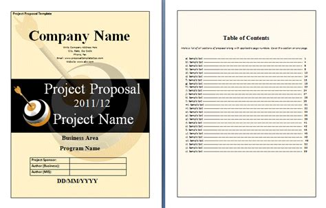 project proposals templates free template new calendar template site