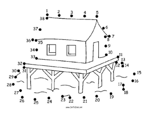 Printable House On Stilts Dot To Dot Puzzle