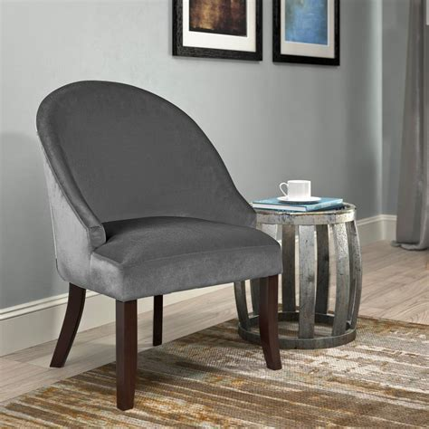 corliving antonio grey velvet curved accent chair dad