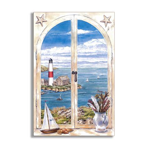 faux window painting stupell industries montauk lighthouse faux window