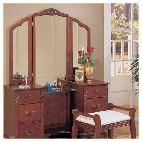 traditional wood makeup vanity table set with mirror 300074