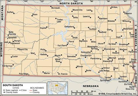 south dakota county map south dakota political features encyclopedia children s homework help