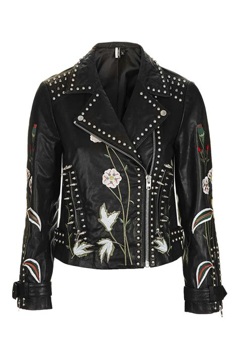 Embroidered Jacket embroidered leather jacket topshop
