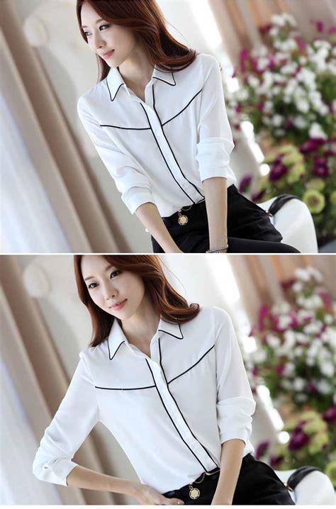 Baju Kerja Kemeja Blouse Wanita Korea Import Putih Biru White Pink kemeja putih wanita lengan panjang model terbaru jual murah import kerja