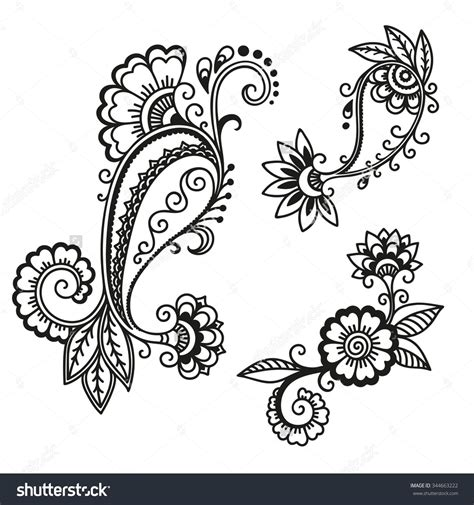 henna tattoo vector stock images similar to id 56777380 kashmir henna design