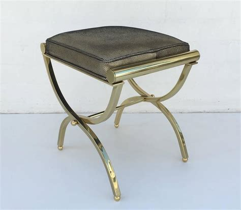 Leather Vanity Stool by Polished Brass And Leather Vanity Stool By Charles Hollis