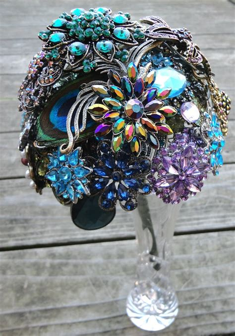 purple green blue peacock wedding broach bouquet by peacock wedding brooch bouquet with real peacock feathers