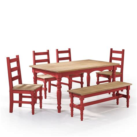 6 piece dining set with bench manhattan comfort jay 6 piece red wash solid wood dining