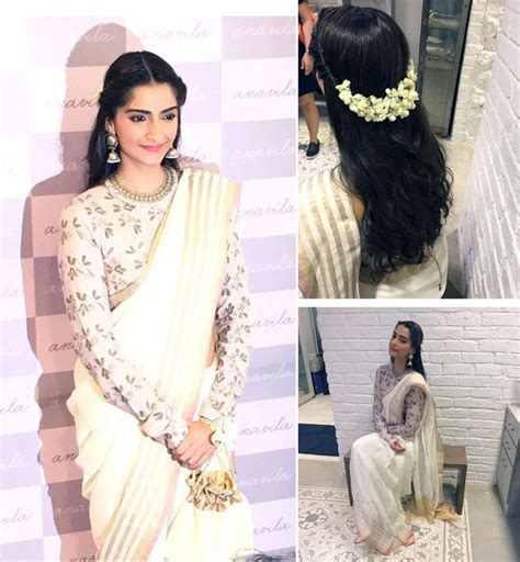 sonam kapoor hairstyles in saree 35 best engagement hairstyles images on pinterest flower