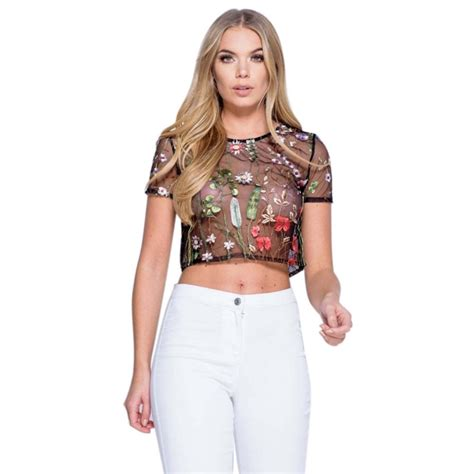 See Through Sleeve Top sleeve embroidery tops floral hollow t shirt