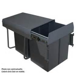 poubelle de cuisine encastrable gris clair 2x20 litres
