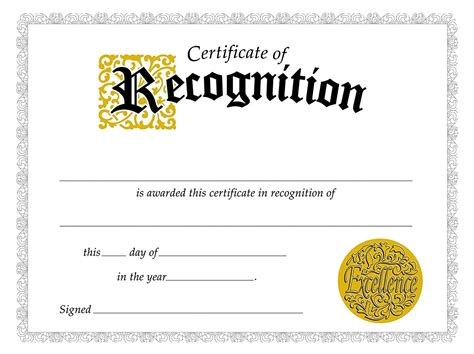 Free Printable Templates For Certificates Of Recognition by Certificate Of Recognition Certificate Template
