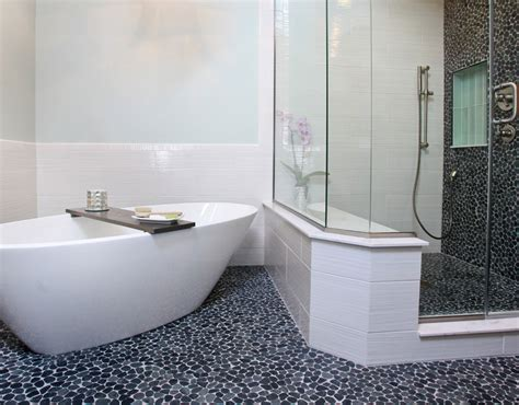 Stand Up Shower Tub Combo Wave Tile Bathroom Design Zen Paradise