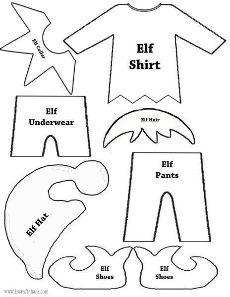 printable clothes for elf on the shelf elf clothes and parts template christmas craft ideas
