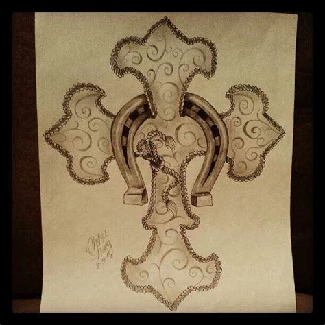 western cross tattoos rope cross with a horseshoe drawing by chelsie haeg