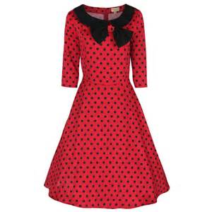 Vintage inspired 1950 s red parisian style polka swing party dress