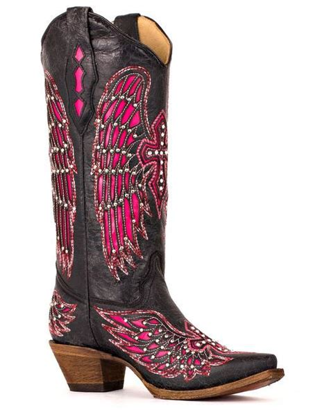 Boots Pink Black corral wing black pink cowboy boots outback