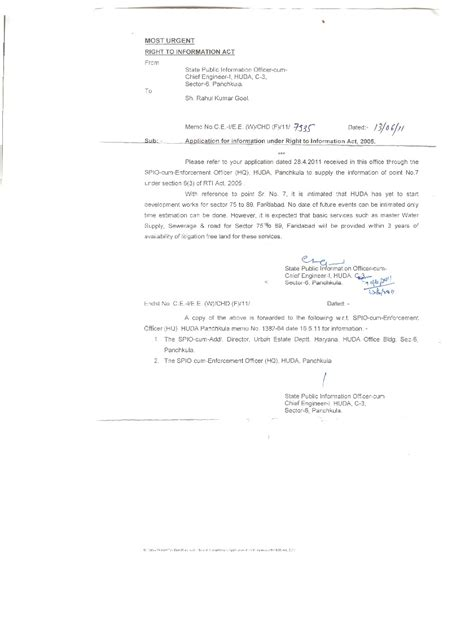 rti section fresh rti reply from huda regarding development of greater