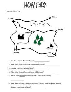 map to work map work how far 4th 5th grade worksheet lesson planet