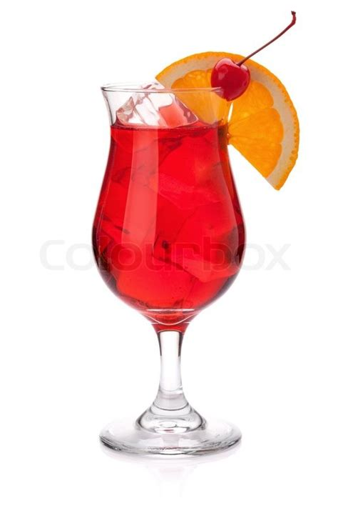 red drink red tropical cocktail isolated on white background stock