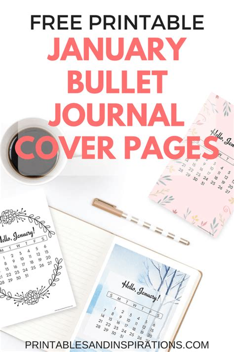 printable winter journal cover free printable january bullet journal cover designs with