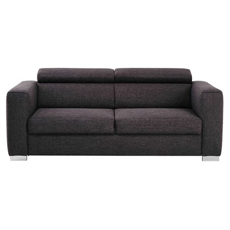 3 seater fabric sofa in grey jazz maisons du monde