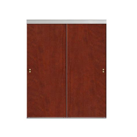 Impact Plus Closet Doors Impact Plus 42 In X 96 In Smooth Flush Cherry Solid Mdf Interior Closet Sliding Door With