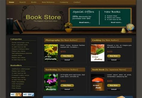 templates for bookstore book store html css website template